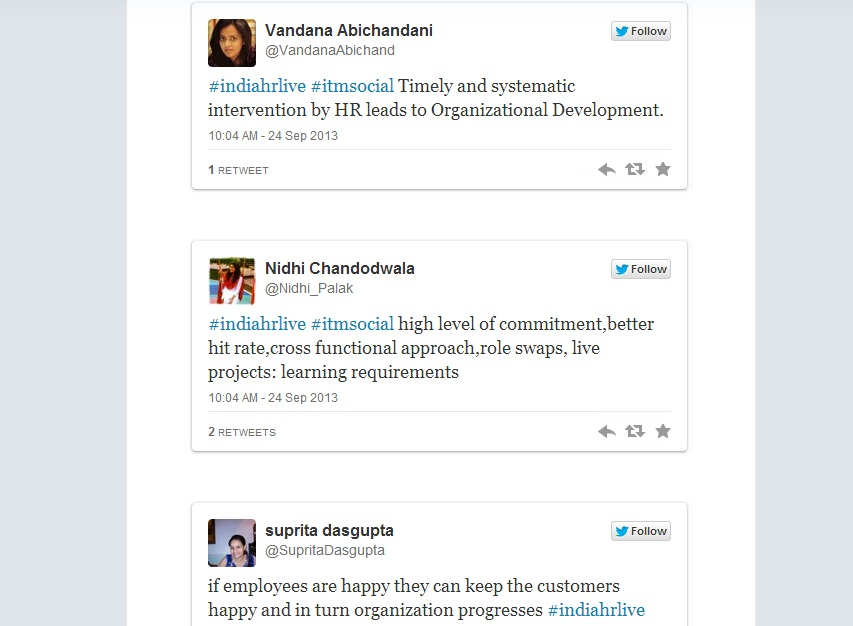 #IndiaHRLIVE storify Sept 24th on Leveraging Capability development : Idea's journey