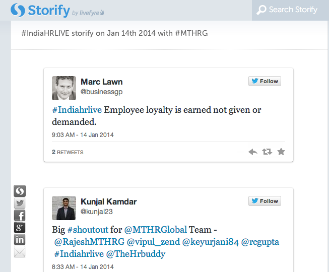 #IndiaHRLIVE storify on Jan 14th 2014 with #MTHRG